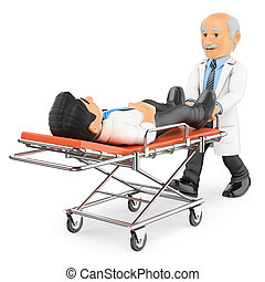 3D Doctor pushing a stretcher with a patient