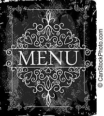 Vintage cover menu - Vintage frame with floral ornament with...