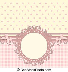 Vintage baby girl arrival announcement card