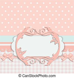 Vintage baby girl arrival announcement card.