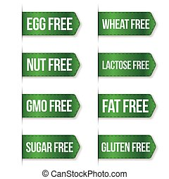 Food diet icon collection set, gluten free, sugar free, nut...