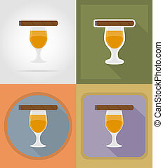 cigar and alcoholic drinks flat icons illustration isolated...