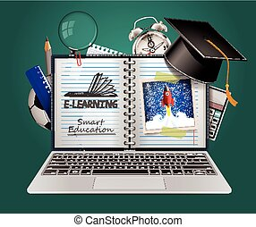 E-learning - smart on-line educatio - Elearning concept -...