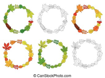 Vector set of outline wreaths - Vector set of round, outline...