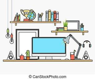 Line flat design mock up of modern workspace Vector...