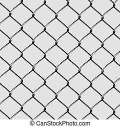 Realistic Steel Netting Cut. Steel net on grey background