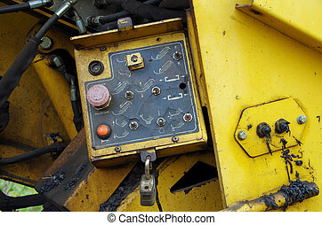 Asphalt street paving machine mechanical view of components