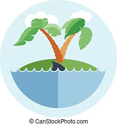 Digital vector island with water, palm tree and shark, flat...