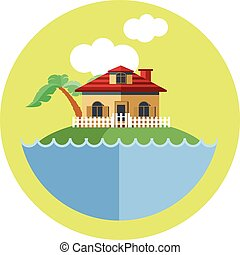 Digital vector land with water, a house, palm tree and...