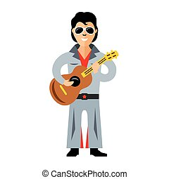 Vector Musician parody artist with a guitar Rock and roll...