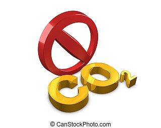 No Co2 - 3d image, conceptual carbon monoxide