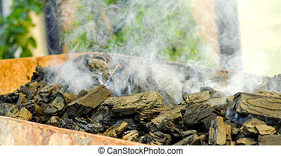 Hot Charcoal in the BBQ - picture of a Preparing Hot...