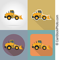 bulldozer for road works flat icons illustration isolated on...