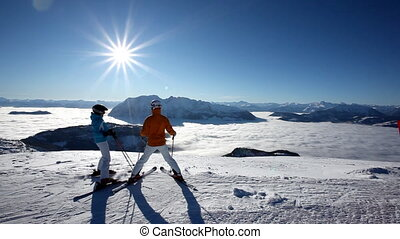 skiers having amazing view