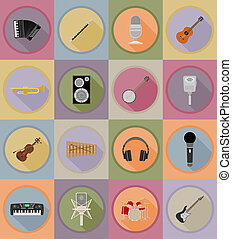 music items and equipment flat icons illustration isolated...