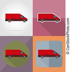 mini bus flat icons illustration isolated on background