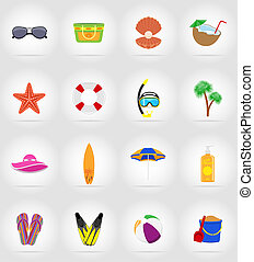 objects for recreation a beach flat icons illustration...