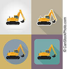 excavator for road works flat icons illustration isolated on...