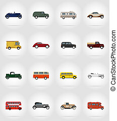 老, retro, 汽車, 套間, 圖象, 插圖