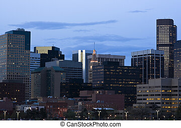 Getting dark in Denver, Colorado