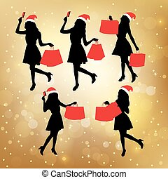 Silhouettes of shopping women - Silhouettes of christmas...