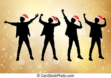Silhouette of excited christmas man arise arm with white...