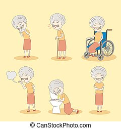 old woman has different problem - cartoon old woman has...