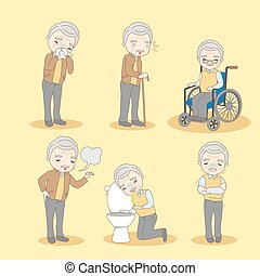 old man has different problem - cartoon old man has...