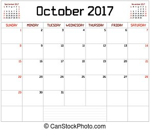 Year 2017 October Planner - A monthly planner calendar for...