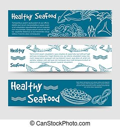 Horizontal banners with healthy seafood - Horizontal banners...
