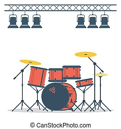 Drum set on stage - Vector flat colored drum set on stage...