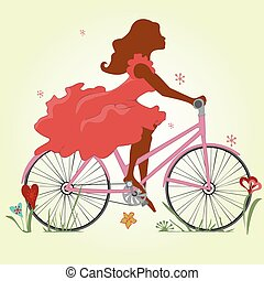 A young girl in a red dress rides a Bicycle. Vector illustration. Square location.