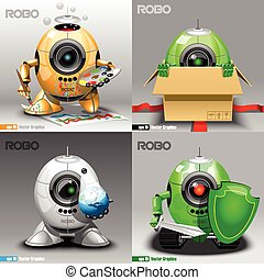 Digital vector robo set, painter, delivery