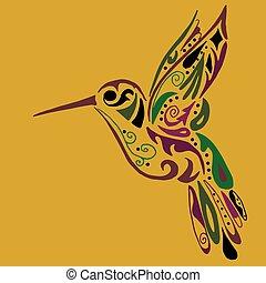 tatuaje, colorido, o, Colibrí