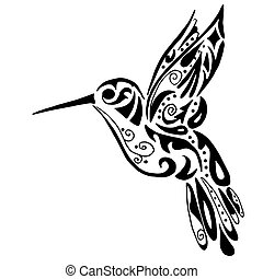 hummingbird for coloring or tattoo isolated on white...