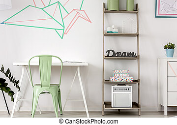 Washi tapes for home decor - Simple home office with...