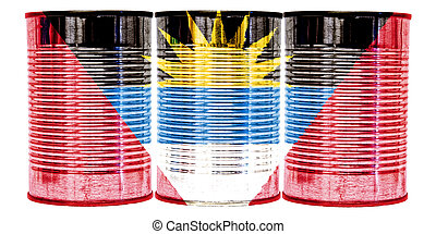 Tin Cans Flag of Antigua and Barbuda - Three tin cans with...