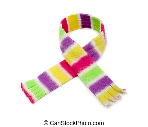 Striped scarf - Multicolored striped scarf isolated on white