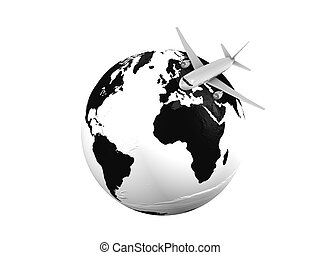Airline - 3d image, Air plane over globe on a white...