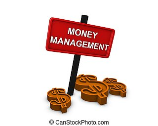 Management - 3d image, money management, on white background