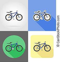mountain bike flat icons illustration isolated on background