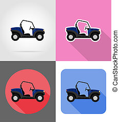 atv car buggy off roads flat icons illustration isolated on...