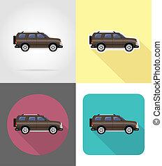 suv car flat icons illustration isolated on background