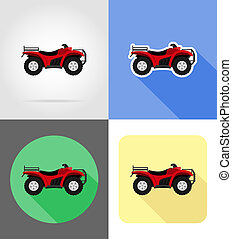atv motorcycle on four wheels off roads flat icons illustration