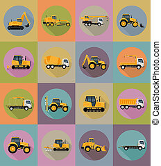 automobile transport for repair and construction flat icons...
