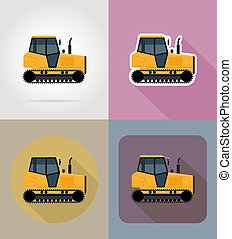 caterpillar tractor flat icons illustration isolated on...