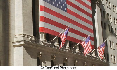 stock exchange with flags - new york stock exchange with...