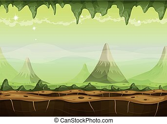 Fantasy Sci-fi Alien Landscape For Game Ui - Illustration of...