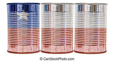 Tin Cans Flag of Chile - Three tin cans with the flag of...