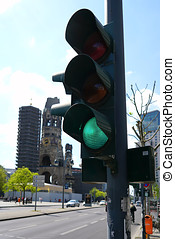 Berlin - green traffic light at an intersection in Berlin